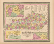 State Of Kentucky Antique Map Cowperthwait 1853