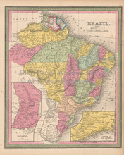 Brazil Antique Map Cowperthwait 1853