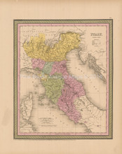 Northern Italy Antique Map Cowperthwait 1853