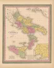 Kingdom Of Naples Antique Map Cowperthwait 1853