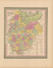 Russia In Europe Antique Map Cowperthwait 1853