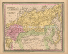 Russia Siberia Antique Map Cowperthwait 1853