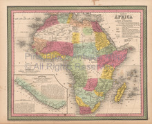African Continent Antique Map Cowperthwait 1853