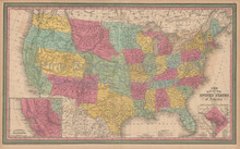 United States Antique Map Cowperthwait 1853