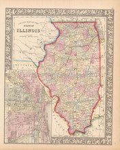 State of Illinois  Antique Map Mitchell 1861
