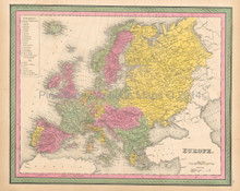 European Continent Antique Map Mitchell 1846