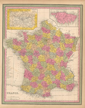France Antique Map Mitchell 1846