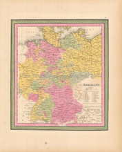Germany Antique Map Mitchell 1846