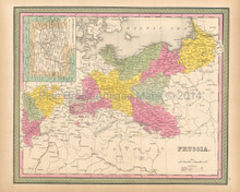 Prussia Antique Map Mitchell 1846