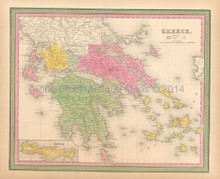 Greece Candia Antique Map Mitchell 1846