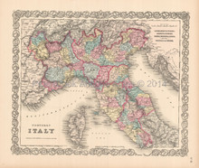 Northern Italy Antique Map Colton 1855