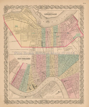 Louisville New Orleans Antique Map Colton 1856