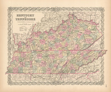 Kentucky Tennessee Antique Map Colton 1855