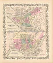 Cincinnati Pittsburgh Antique Map Colton 1855