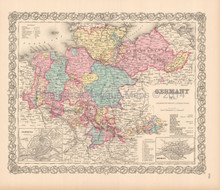 Germany No. 1 Antique Map Colton 1855