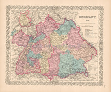Germany No. 3 Antique Map Colton 1855