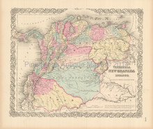 Colombia Venezuela Antique Map Colton 1855