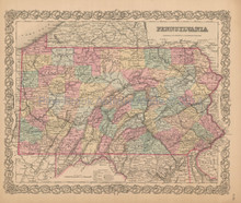 Pennsylvania Antique Map Colton 1856 clm2