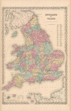 England Wales Antique Map Colton 1855