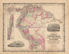 Venezuela New Granada Antique Map Johnson 1862