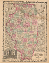 Illinois Antique Map Johnson 1862