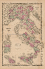 Northern Southern Italy Antique Map Johnson 1862