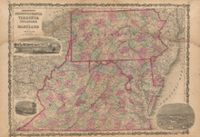 Pennsylvania, Virginia Antique Map Johnson 1862