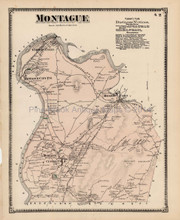 Antique Map Montague Turner Falls Massachusetts Beers 1871