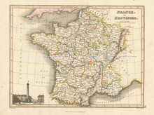 France Provinces Antique Map Wyld 1827