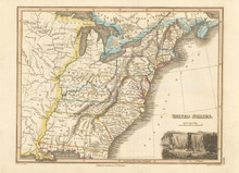 United States Antique Map Wyld 1827