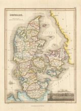 Denmark Antique Map Wyld 1827