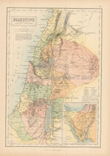 Palestine Antique Map Black 1865