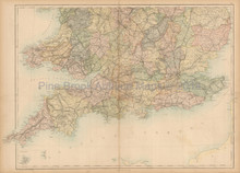 England Wales South Antique Map Black 1865