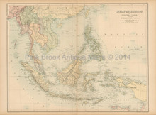 Indian Archipelago Antique Map Black 1865