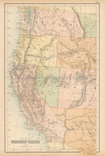 Western United States Antique Map Black 1865