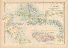 West Indies Antique Map Black 1865