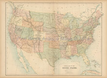 United States Antique Map Black 1865