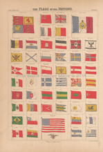 Flags Of All Nations Antique Map Black 1867