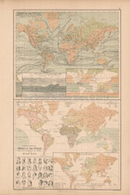 Physical Features World Antique Map Black 1867
