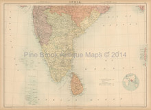 Southern India Antique Map Black 1867