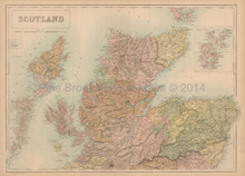 Northern Scotland Antique Map Black 1867