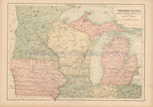 Northern Midwest United States Antique Map Black 1867