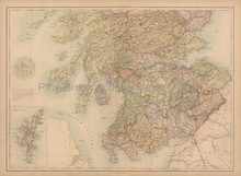 Southern Scotland Antique Map Black 1867