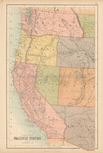 Pacific States United States Antique Map Black 1867