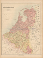 Holland Belgium Antique Map Black 1867
