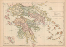 Hellas Greece Antique Map Black 1867