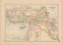Turkey In Asia Antique Map Black 1867
