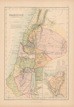 Palestine Antique Map Black 1867