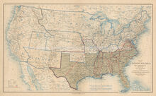 USA Military Departments June 30, 1864 Civil War Antique Map 1895 circa
