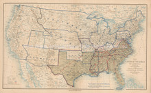 USA Military Departments Dec. 31, 1864 Civil War Antique Map 1895 circa